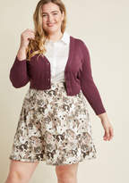 FS17186 This knit skater skirt does more than showcase your taste for quirky style! In fact, this A-line's statement print of white bunnies, grey kittens, and black puppies asserts your status as a card-carrying member of animal enthusiasm. A piece this profound