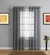 """Warm Home Designs Extra Long Charcoal Grey Sheer Window Curtains with Grommet Top for Bedroom, Kitchen, Kids Room or Living Room, 2 Voile Panel Drapes 54-Inch-by-108-Inch - K Charcoal Gray 108"""""""