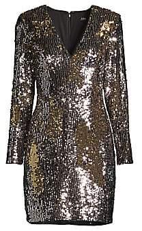Aidan Mattox Women's Long-Sleeve Sequin Cocktail Dress