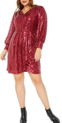 ELOQUII Sequin Long Sleeve Faux Wrap Dress