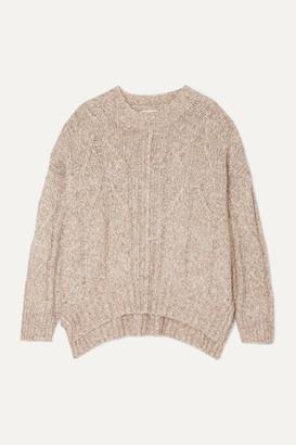 LOULOU STUDIO Oversized Cable-knit Melange Cotton-blend Sweater - Beige