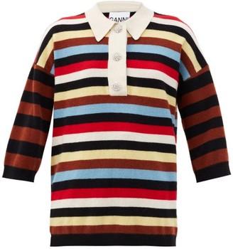 Ganni Crystal-embellished Striped Cashmere Rugby Shirt - Multi