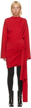 Balenciaga Red Wrap Short Dress