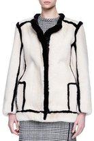 Lanvin Contrast-Outlined Mink Fur Jacket