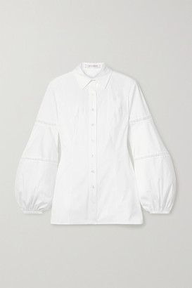 Carolina Herrera Embroidered Tulle-trimmed Cotton-blend Poplin Shirt - White