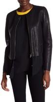 Sandro Genuine Leather Zip Closure Blazer
