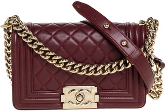 Chanel Wine Red Quilted Leather Small Boy Flap Bag