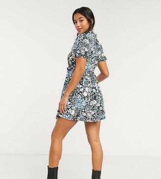 Miss Selfridge Petite ruffle detail smock dress in blue floral