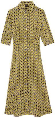 Aspesi Printed Collar Short Sleeve Dress in Yellow/Black