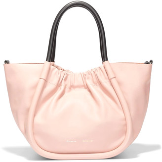 Proenza Schouler Small Ruched Smooth Leather Tote in Cameo Rose