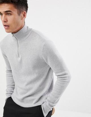 ASOS DESIGN midweight half zip jumper in grey