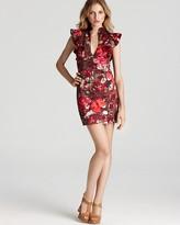 Black Halo Mini Dress - Eva Sleeveless Ruffle Shoulder
