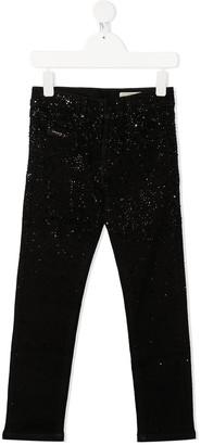 Diesel TEEN embellished straight-leg jeans