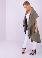 Missy Empire Zandra Mocha Waterfall Sleeveless Coat