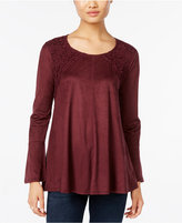 Style&Co. Style & Co. Faux-Suede Crochet-Trim Top, Only at Macy's