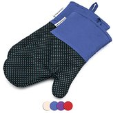 Silicone Oven Mitts Cooking Gloves 480 F Heat Resistant Square Dot Pattern Non-Slip Grip Pot Holders for Kitchen Oven BBQ Grill and Fire Pits for Cooking Baking 7x13 inch 1 pair Blue by LA Sweet Home