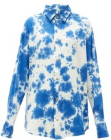 The Elder Statesman Tie-dye Silk Shirt - Womens - Blue White