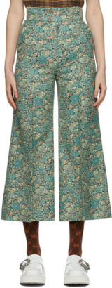 Gucci Green Liberty London Edition Wool Floral Wide Trousers