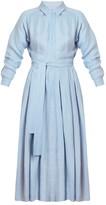 Undress Dysania Light Blue Pleated Linen Midi Shirt Dress
