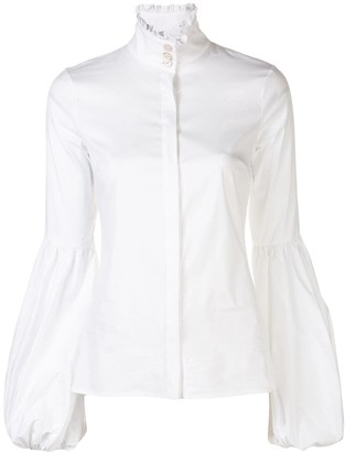 Caroline Constas Ruffle Neck Bell Sleeve Shirt