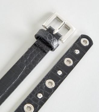 New Look Faux Croc Stud Skinny Belt