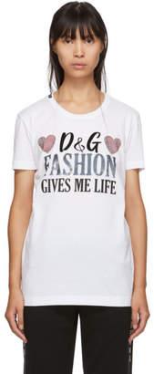 Dolce & Gabbana White Fashion Gives Me Life T-Shirt