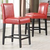 Inspire Q Bennett 24 inches Red Faux Leather Bar Stools (Set of 2)