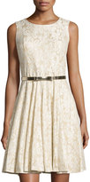 Chetta B Glitter Lace Fit-and-Flare Dress, Ivory/Gold