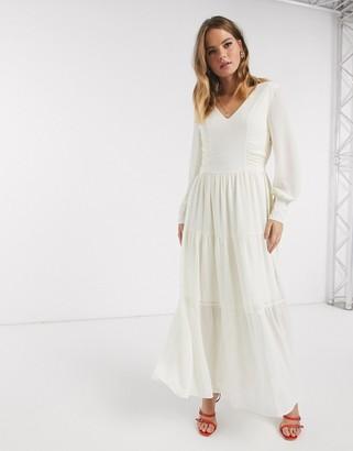Vero Moda tiered maxi dress in cream-White
