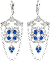 Victorian Style Earrings by Lucia Costin with 6 Petal Flower and Swarovski Crystals and Falling Chains, Set with Cute Square Shaped Details and Cute Charms; .925 Sterling Silver