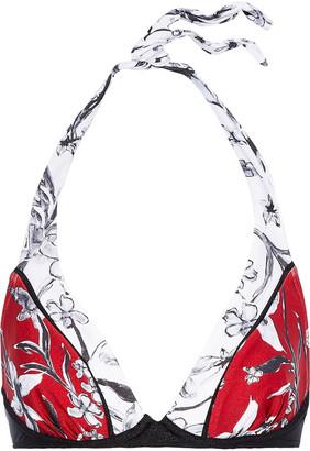 Jets Floral-print Halterneck Bikini Top