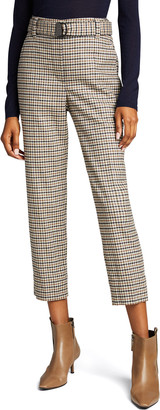 Brunello Cucinelli Wool Flannel Check Trousers with Monili Belt
