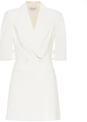 Alexander McQueen Wool and silk-blend crepe minidress