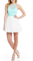 B. Darlin Sequin Lace High Neck Illusion-Yoke Top Color Block Fit-and-Flare Party Dress