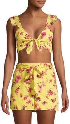 CAMI NYC Layla Gorgette Tie-Front Floral Crop Top