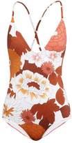 Dodo Bar Or Tata Floral-print Swimsuit - Womens - Brown Print