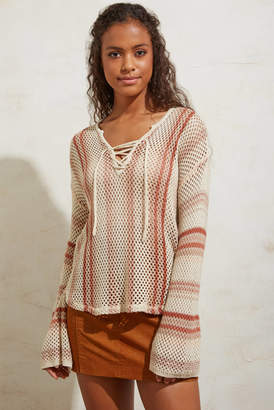 Billabong Tidal Vibes Striped Lace Up Pullover Red Multi S