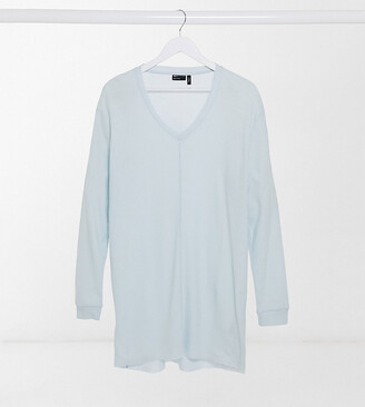ASOS DESIGN Tall relaxed long sleeve T-shirt with deep v neck in light blue