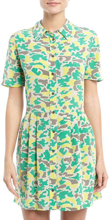 Equipment Naomi Short-Sleeve Pleated Skirt Silk Dress, Lime Punch