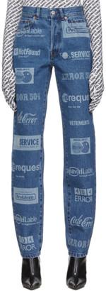Vetements Blue Fully Branded Jeans