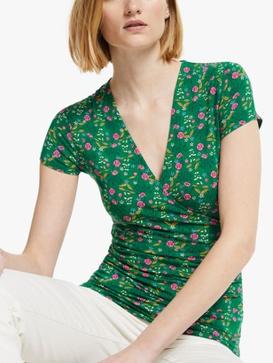 Boden Short Wrap Floral Top, Forest Green