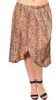 DHStyles Women's Plus Size Reptile Print Split Hem Flowy Skirt