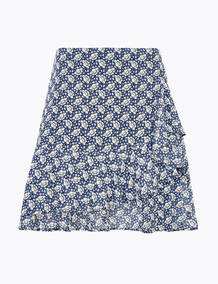 Marks and Spencer Chiffon Floral Ruffle Mini A-Line Skirt