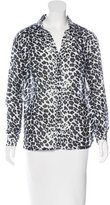 Maje Leopard Print Button-Up Top