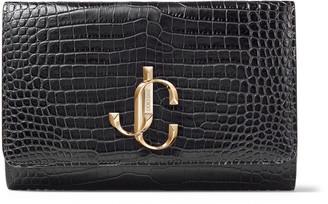 Jimmy Choo VARENNE CLUTCH Dusk Croc Embossed Leather Clutch Bag with JC logo