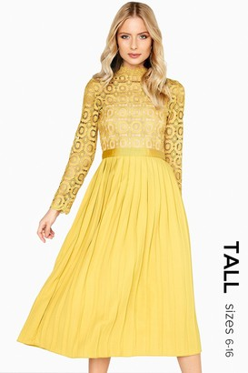 Little Mistress Tall Alice Mustard Crochet Top Midaxi Dress With Pleated Skirt