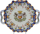 One Kings Lane Vintage French Faience Crested Serving Plate