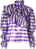 Alessandra Rich ruffle detail striped blouse