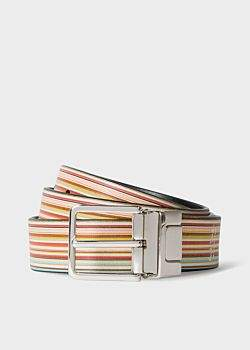 Men's Signature Stripe And Black Cut-To-Fit Reversible Leather Belt