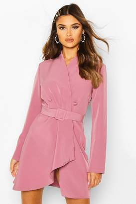boohoo Wrap Detail Belted Blazer Dress